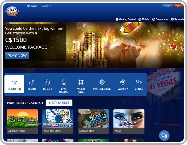 All Slots Casino website homepage
