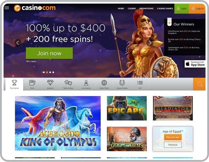 Website image of Casino.com