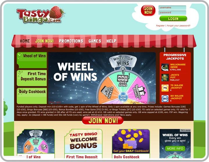 Tasty Bingo Website Image