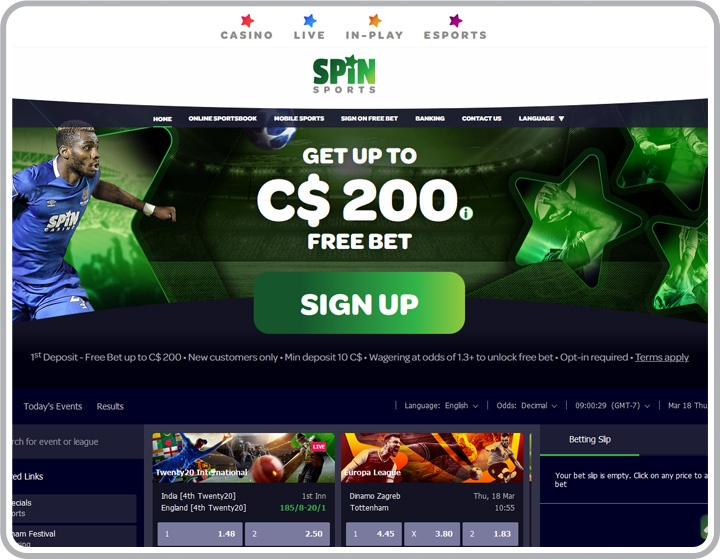 Spin Sports Website Image