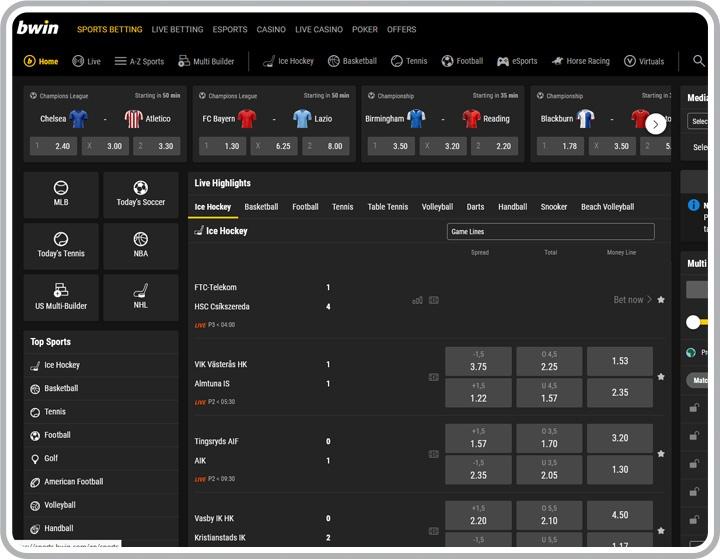 bwin Sport Website