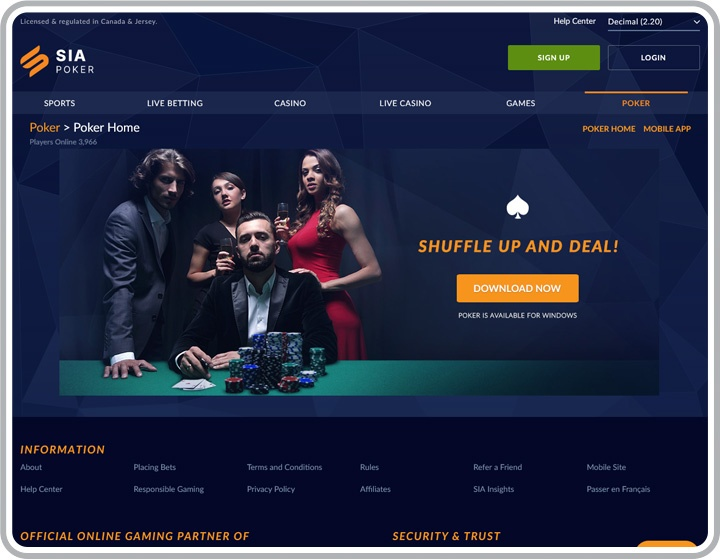Sports InterAction Poker Website Image